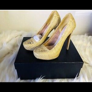 Authentic Prada Gold Straw High Heels